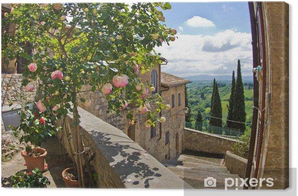 Obraz na płótnie Róże na balkon, Pejzaż z San Gimignano, Toskania krajobraz - Tematy