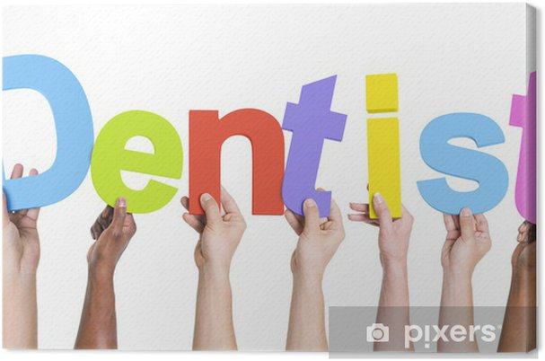 Obraz na płótnie Różne ręce trzyma dentystę słowo - Części ciała