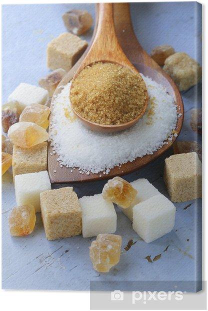 Obraz na płótnie Różne rodzaje cukru, brązowy, cukier biały i wyrafinowany - Posiłki