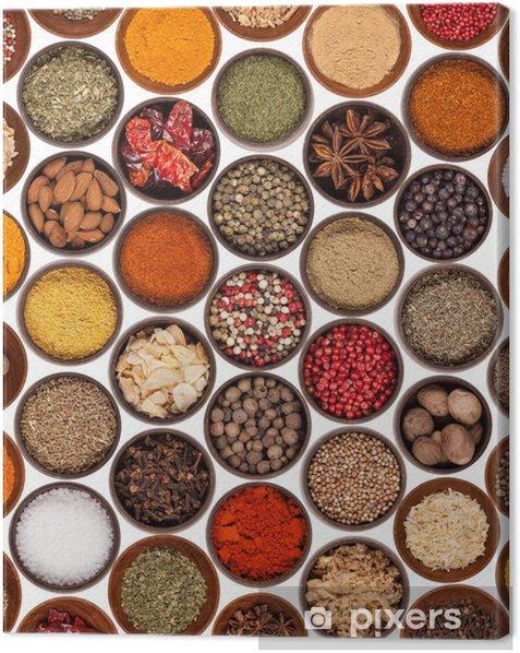 Obraz na płótnie Różne rodzaje przypraw korzennych na białym tle - Przyprawy i zioła