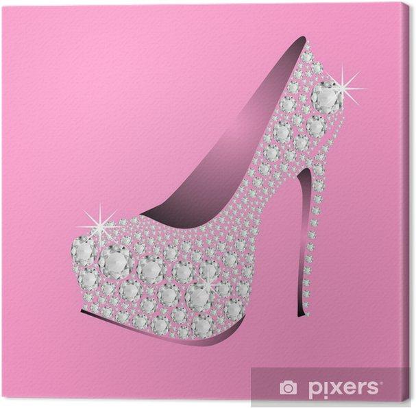 Obraz na płótnie Różowe buty na obcasie DIAMENTY - Moda