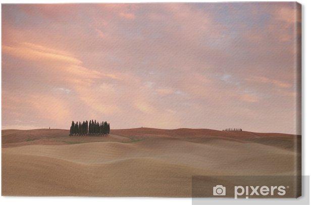 Obraz na płótnie Różowe chmury nad Toskanii - Krajobraz wiejski