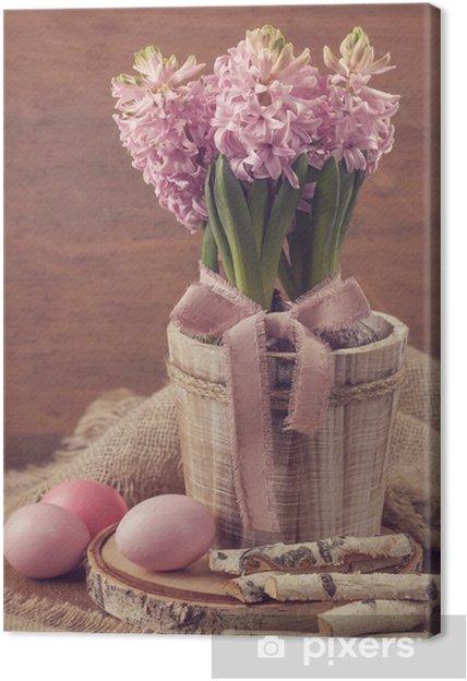 Obraz na płótnie Różowe hiacynty i pisanki - Święta Narodowe