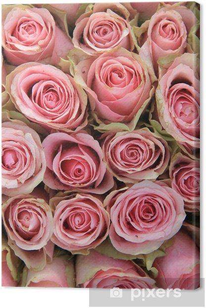 Obraz na płótnie Różowe róże w aranżacji ślubnej - Świętowanie