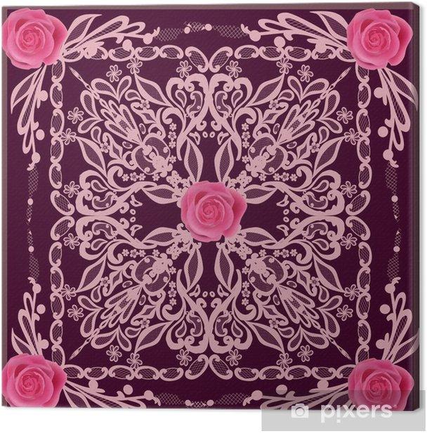 Obraz na płótnie Różowy kwadrat wzór z kwiatów róży - Tła