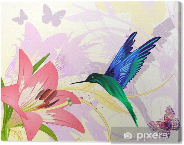 Obraz na płótnie Różowy kwiatowy fantazji Colibri - Tła