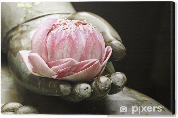 Obraz na płótnie Różowy lotus w rękach buddy - Religia i duchowość