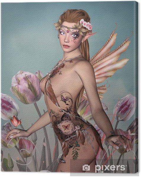 Obraz na płótnie Różowy portret wróżka z tulipanów -