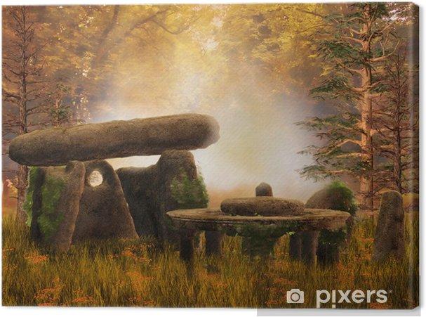 Obraz na płótnie Ruiny i starożytne kamienie na jesiennej łące - Pory roku