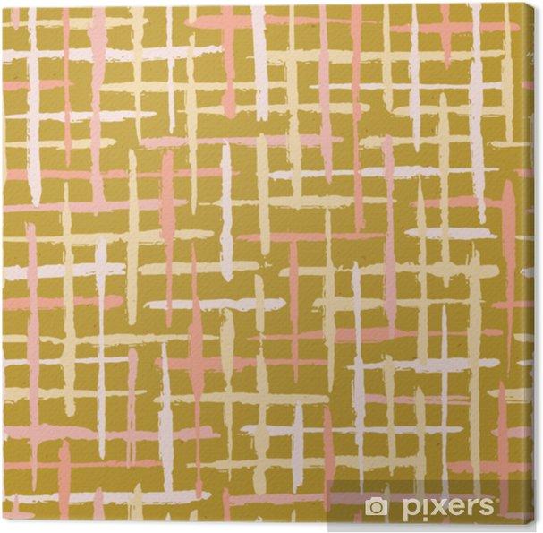 Obraz na płótnie Rustykalny tekstura tło paski bezszwowe wektor wzór. szorstkie linie teksturowane tło ilustracja modny wystrój domu, odbitki mody, tapety, tekstylia. naturalna musztarda w kolorze ecru w plamki - Zasoby graficzne