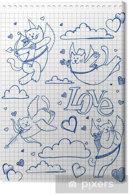 Obraz na płótnie Rysowane ręcznie piękne koty - Kartki z życzeniami