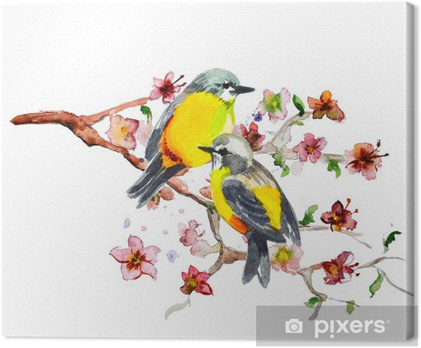 Obraz na płótnie Rysunek akwarela cute ptaka - Ptaki
