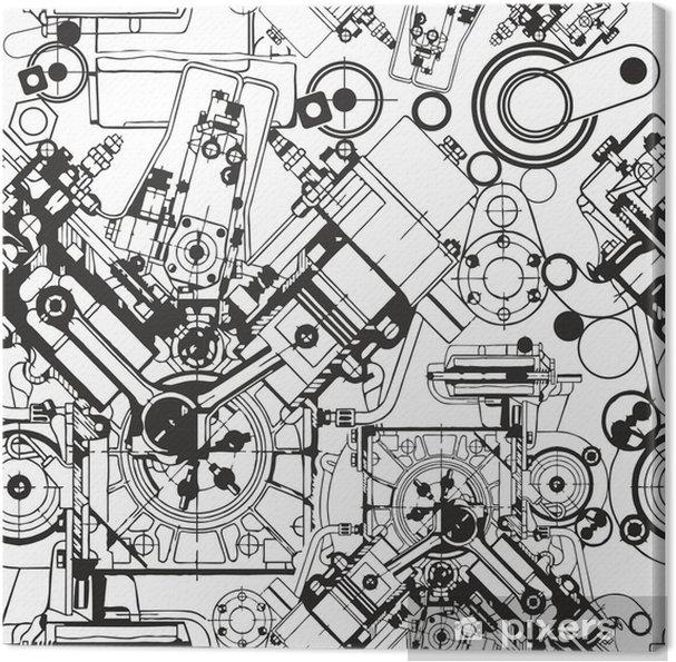 Obraz na płótnie Rysunek silnika szwu - Industrialny