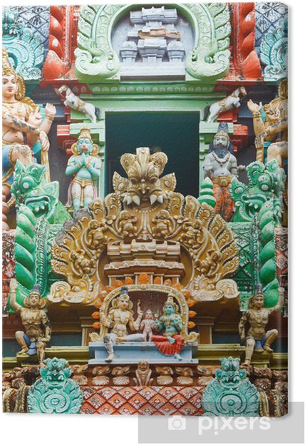 Obraz na płótnie Rzeźby na wieży świątyni hinduistycznej - Azja