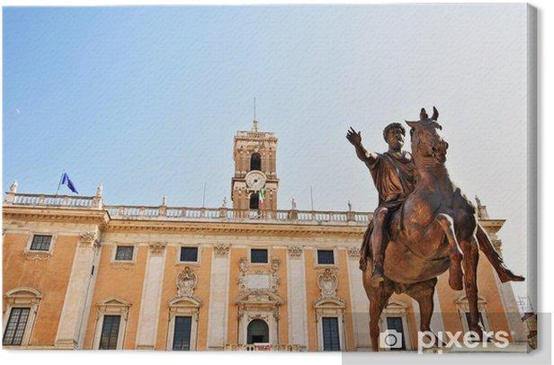 Obraz na płótnie Rzym, Piazza del Campidoglio - Posąg Marka Aureliusza - Miasta europejskie