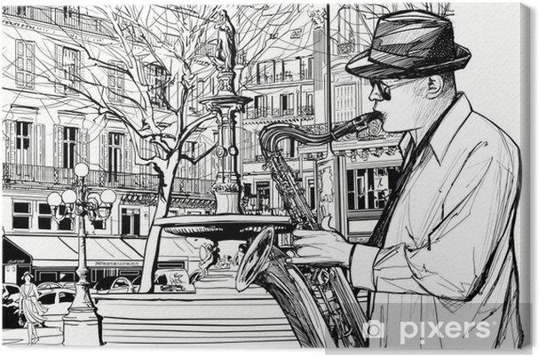 Obraz na płótnie Saksofonista w ulicy Paryżu - Jazz