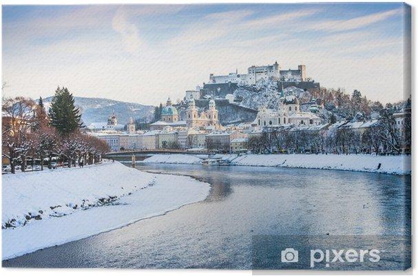 Obraz na płótnie Salzburg skyline z rzeką Salzach w zimie, Austria - Europa