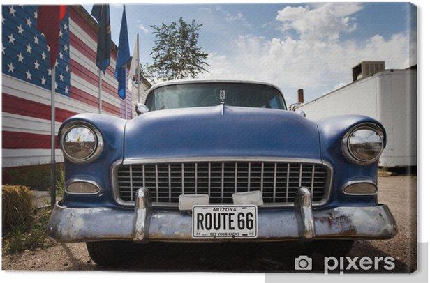 Obraz na płótnie Samochód i flaga USA - Niebo