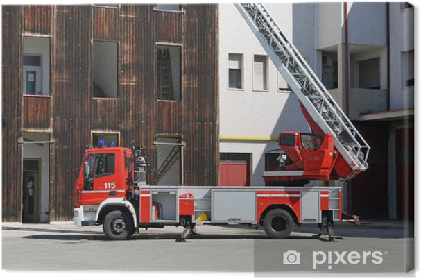 Obraz na płótnie Samochód pożarniczy drabiną podczas misji ratunkowej - Transport drogowy
