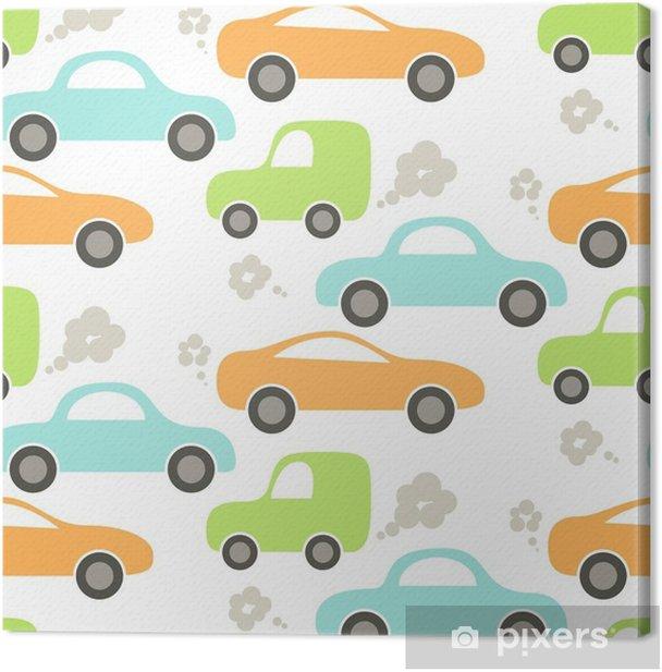 Obraz na płótnie Samochód słodkie dziecko wektor wzór. projektowanie tkanin i ubrań dla dzieci. niebieski, zielony i pomarańczowy wzór ładny samochodów. - Transport