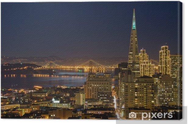 Obraz na płótnie San Francisco dzielnicy finansowej w nocy (z ch - Pejzaż miejski