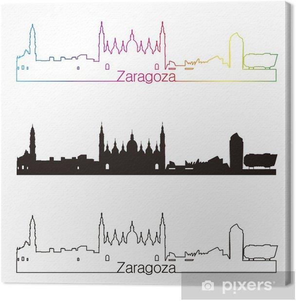 Obraz na płótnie Saragossa stylu skyline liniowy z tęczy - Europa