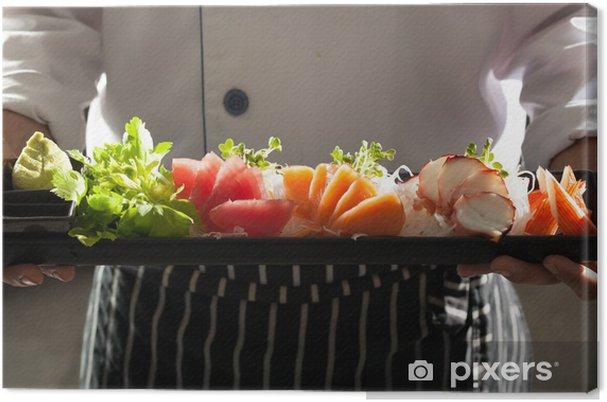 Obraz na płótnie Sashimi, jednolite kucharz gospodarstwa Sashimi japońskiej danie - Tematy
