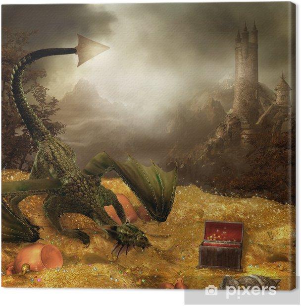Obraz na płótnie Sceneria fantasy ZE smokiem, skarbem i Zamkiem - Tematy