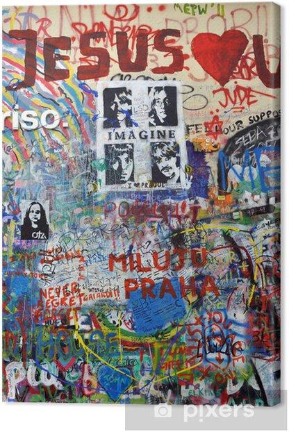 Obraz na płótnie Ściana Johna Lennona w Pradze - Pokój