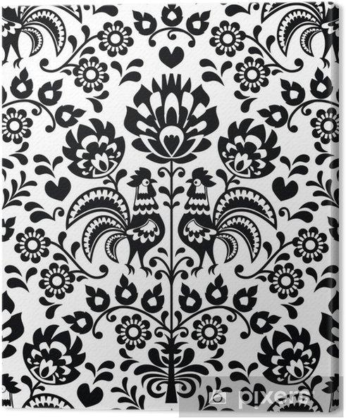 48d7dcf7 Obraz na płótnie Seamless floral Polish folk pattern - Wycinanki, Wzory  Lowickie
