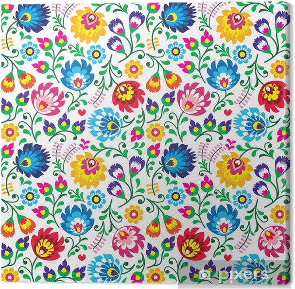 59600e9d Obraz na płótnie Seamless Polish folk art floral pattern