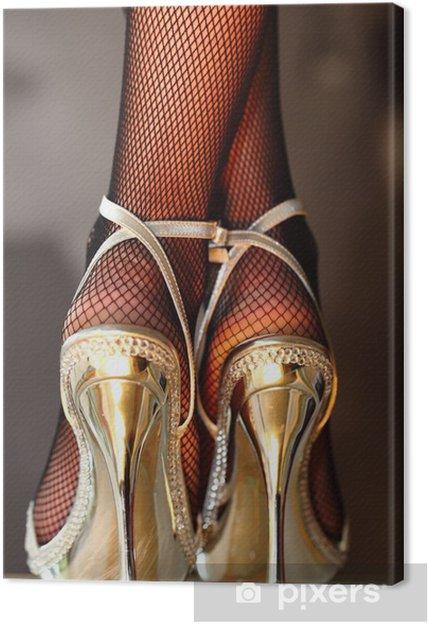 Obraz na płótnie Seksowna kobieta w złotych szpilkach - Tematy