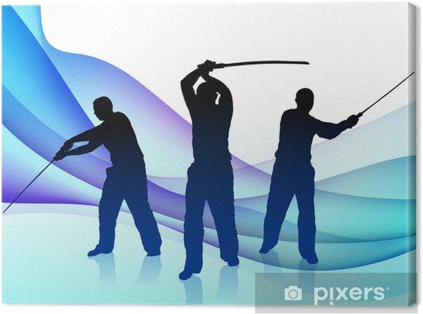 Obraz na płótnie Sensei Karate Miecz na tle abstrakcyjna Wave - Sukces i osiągnięcia