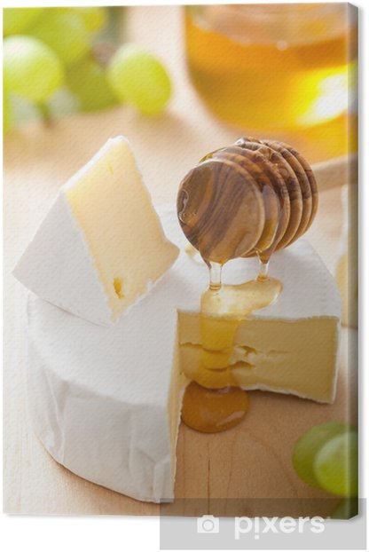 Obraz na płótnie Ser camembert z winogron, miodem i orzechami drewniany backgroun - Sery