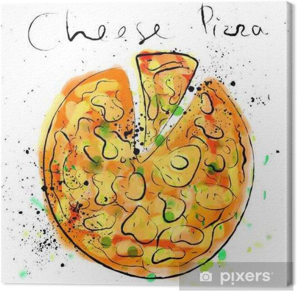 Obraz na płótnie Ser do pizzy, sporządzone w kredą na tablicy - Jedzenie