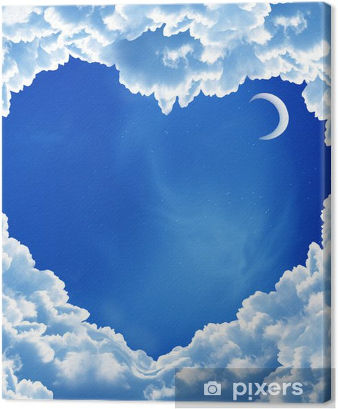 Obraz na płótnie Serce chmury i księżyc - Przestrzeń kosmiczna