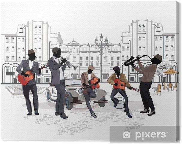 Obraz na płótnie Seria widokiem na ulicę z muzykami - Do kawiarni