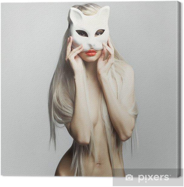 Obraz na płótnie Sexy blondynka w masce kota - Kobiety