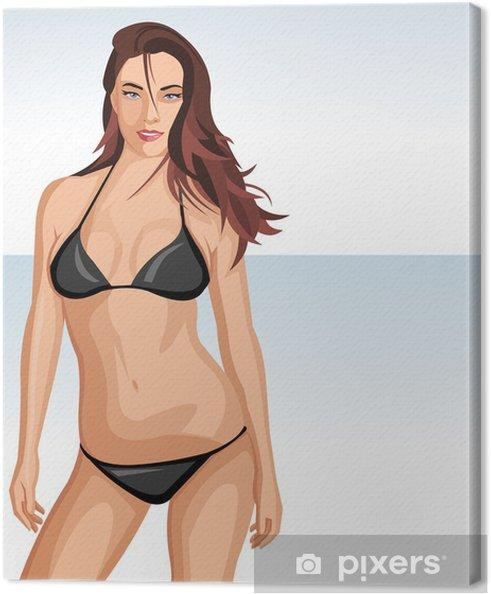 0282c6c0d2dc7d Obraz na płótnie Sexy dziewczyna stwarzających na plaży. Belly / szczupła  kobieta.