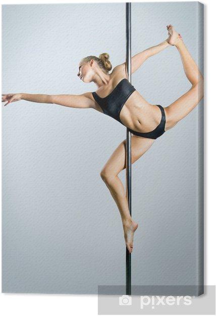 Obraz na płótnie Sexy młoda kobieta ćwiczenia pole dance na szarym tle - Bielizna