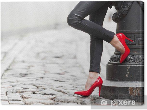 Obraz na płótnie Sexy nogi w czarne skórzane spodnie i czerwone buty wysoki obcas - Tematy