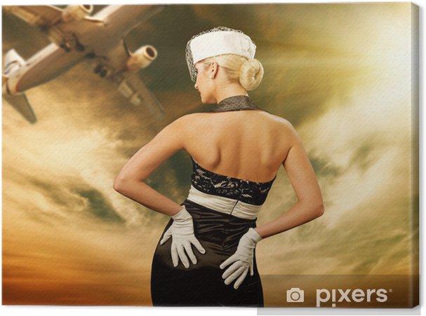 Obraz na płótnie Sexy stewardess i latający samolot - Kobiety