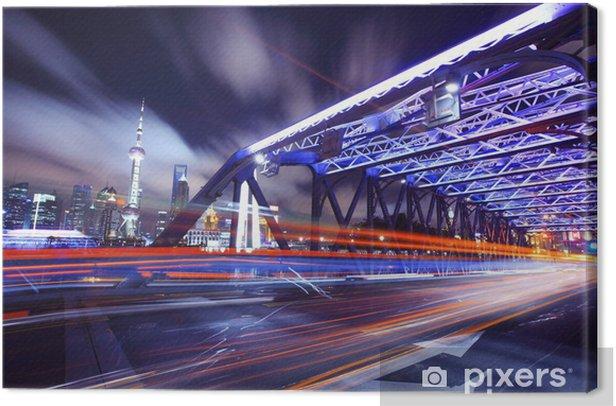 Obraz na płótnie Shanghai Most Ruch w nocy - Transport drogowy