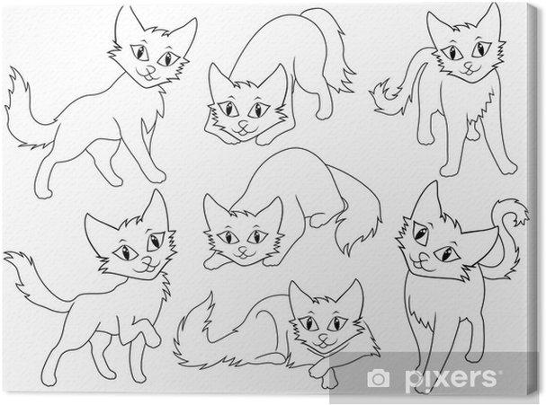 Obraz na płótnie Siedem śmieszne koty kreskówki - Ssaki