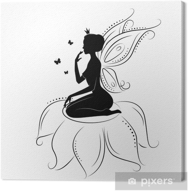 Obraz na płótnie Silhouette piękne bajki na kwiaty. - Naklejki na ścianę