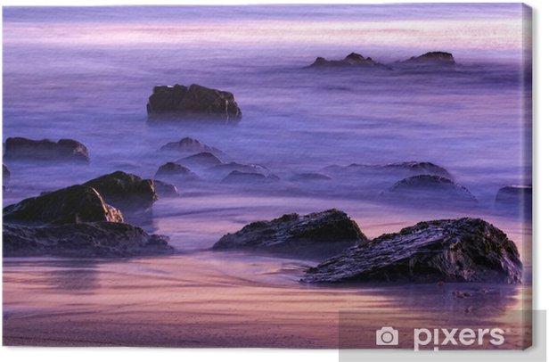 Obraz na płótnie Skały w Surf na plaży o zachodzie słońca w Kalifornii - Wakacje