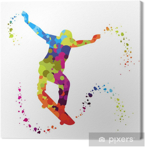 Obraz na płótnie Skater z kolorowych kropek - Skateboarding