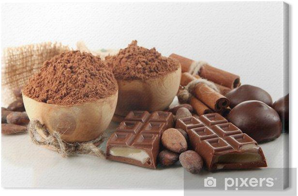 Obraz na płótnie Skład czekolady słodycze, kakao i przypraw, izolowane - Słodycze i desery