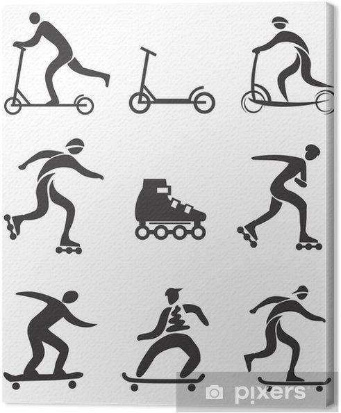 Obraz na płótnie Skuter w linii deskorolka Black icons - Sporty indywidualne