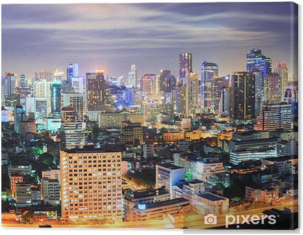 Obraz na płótnie Skyline w nocy w centrum Bangkok - Pejzaż miejski